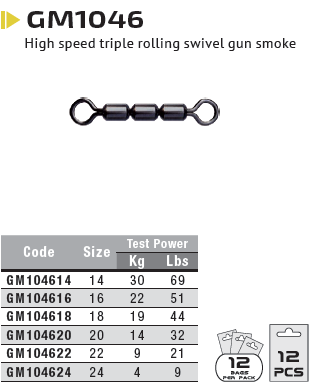 Вертлюги ROLLING SWIVELS TREBLE H.S № 24 / 4кг /12шт