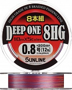 Леска плетеная (шнур)  DEEP ONE 8HG 200M #1,2/20lb/0,185mm/8,8kg (Многоцветная)